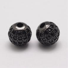 cirkonia kerek köztes 1 db fekete-felete kövekkel 8 mm