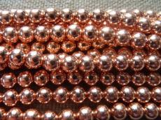 szintetikus hematit gyöngy 8 mm 10 db vörösréz színű