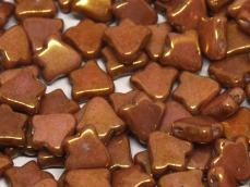 kétlyukú bell gyöngy: telt fehér arany lüszterrel 10 db