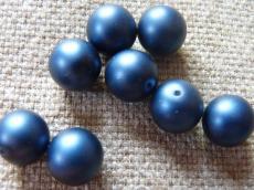 12 mm kerek gyöngy matt gyöngyház sötét farmerkék 5 db