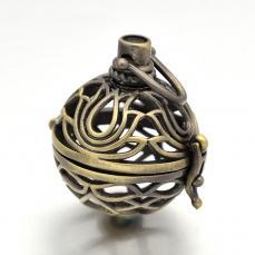 Angyalhívó medál antik réz színű lótuszvirágos nagyobb