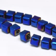 szintetikus hematit kocka 6 mm 10 db metál sötét türkizkék színű