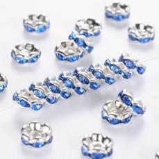 strasszos rondell 6 mm: világos zafírkék
