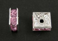 strasszos négyzet rondell 6 mm: világos rózsaszín
