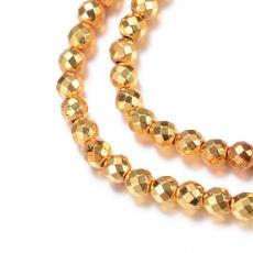 szintetikus hematit fazettált gyöngy 8 mm 10 db arany színű