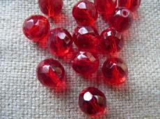 csiszolt gyöngy 12 mm: piros 4 db