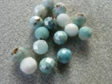 larimar fazettált gyöngy 8 mm másodosztályú