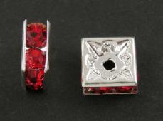 strasszos négyzet rondell 6 mm: piros