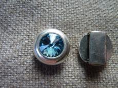 13 mm-es bőrhöz swarovski kerek köztes aquamarine