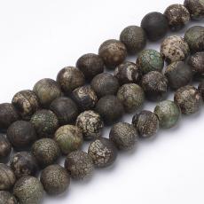 matt fekete-zöld-barna dZi achát 8 mm repesztett szál