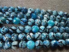 barna-kék fazettált dZi achát 8 mm